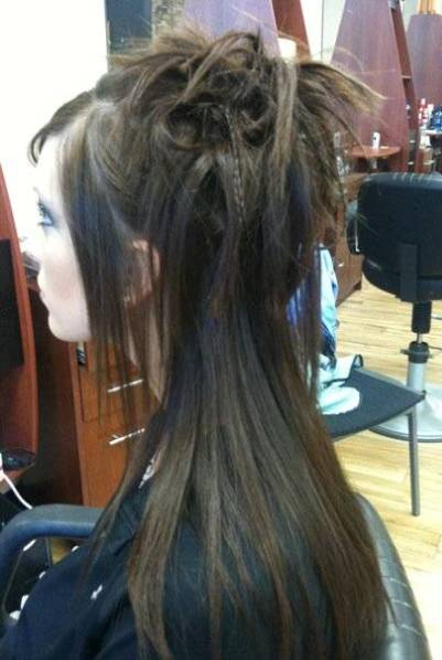 Straight Spiky Half Updo Prom Party Formal