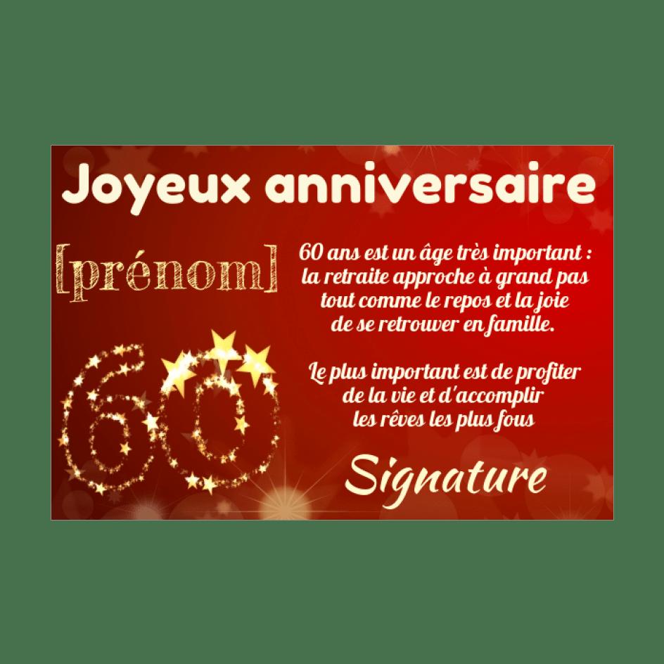 carte joyeux anniversaire 60 ans jaune
