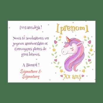 carte d anniversaire licorne gratuit a