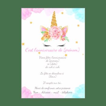carte invitation anniversaire licorne
