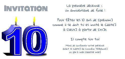 invitation anniversaire 10 ans bougie