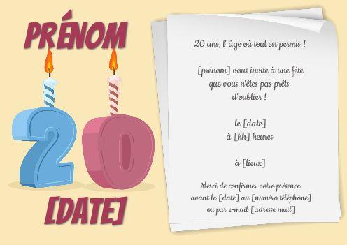 invitation anniversaire 20 ans bougie