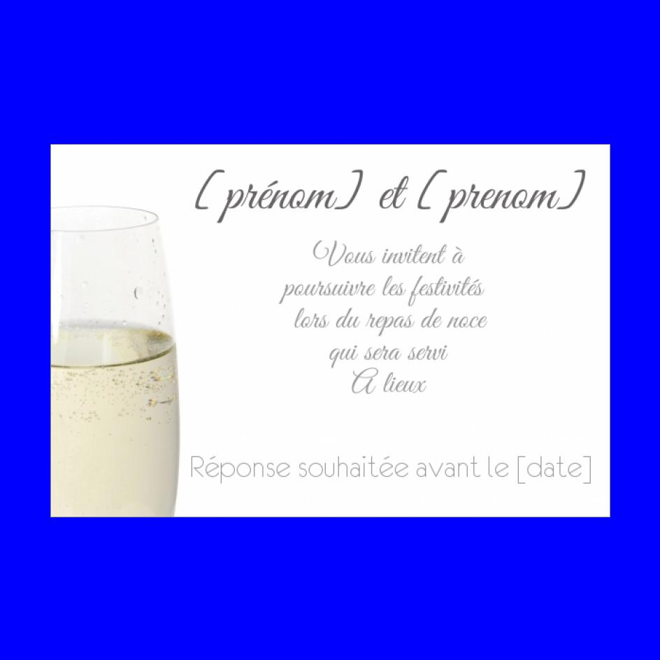 invitation mariage repas champagne