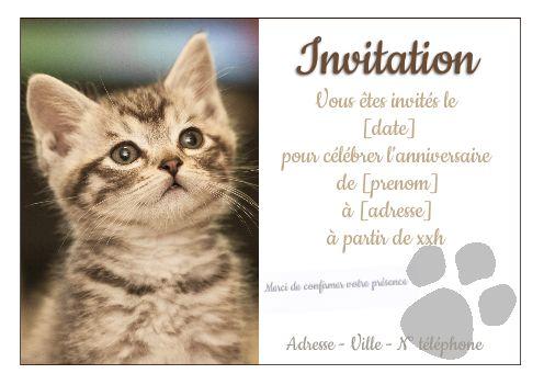 carte invitation anniversaire chat