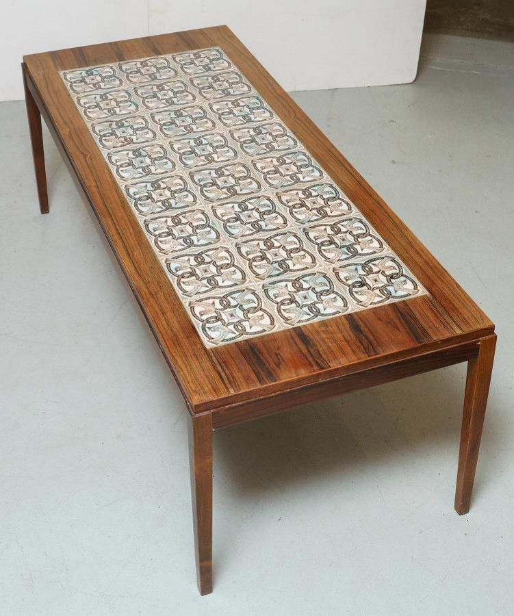 a 1960s danish tile inlaid coffee table
