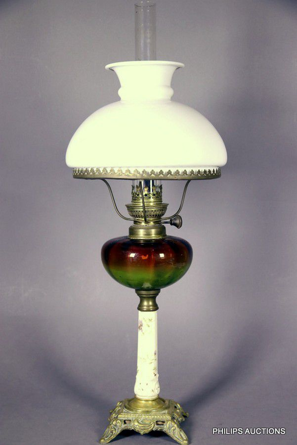 An Antique French Porcelain And Glass Table Lamp 19th Century Lamps Table Desk Lighting