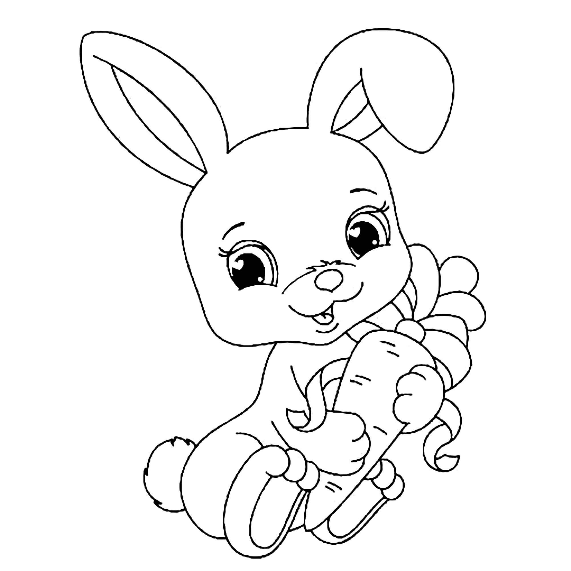 Rabbit Holding Carrot Colouring Image