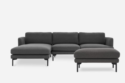 pebble chaise sectional sofa with ottoman