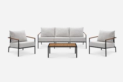 sorrento outdoor sofa 2 lounge chairs coffee table set