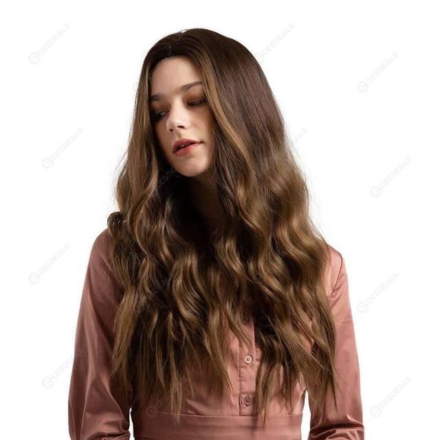 26inch two tone long curl synthetic lace wig wavy fake hair (gradient brown
