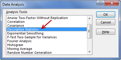 Descriptive statistics in Excel using Data Analysis toolpack add-in