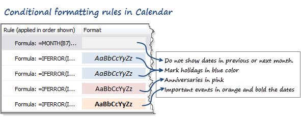 Conditional Formatting Rules in 2013 Excel Calendar template