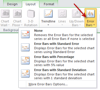 Adding error bars for a chart - from layout ribbon