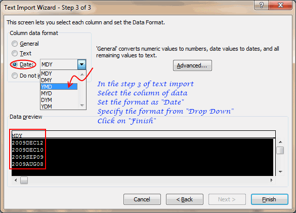 Text to date using Text Import Wizard in Excel