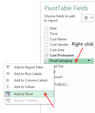 Add as slicer from Pivot table fields list