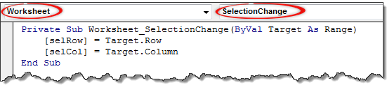 VBA code to capture selected cell's row & column