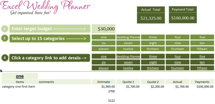 wedding planner budget spreadsheet