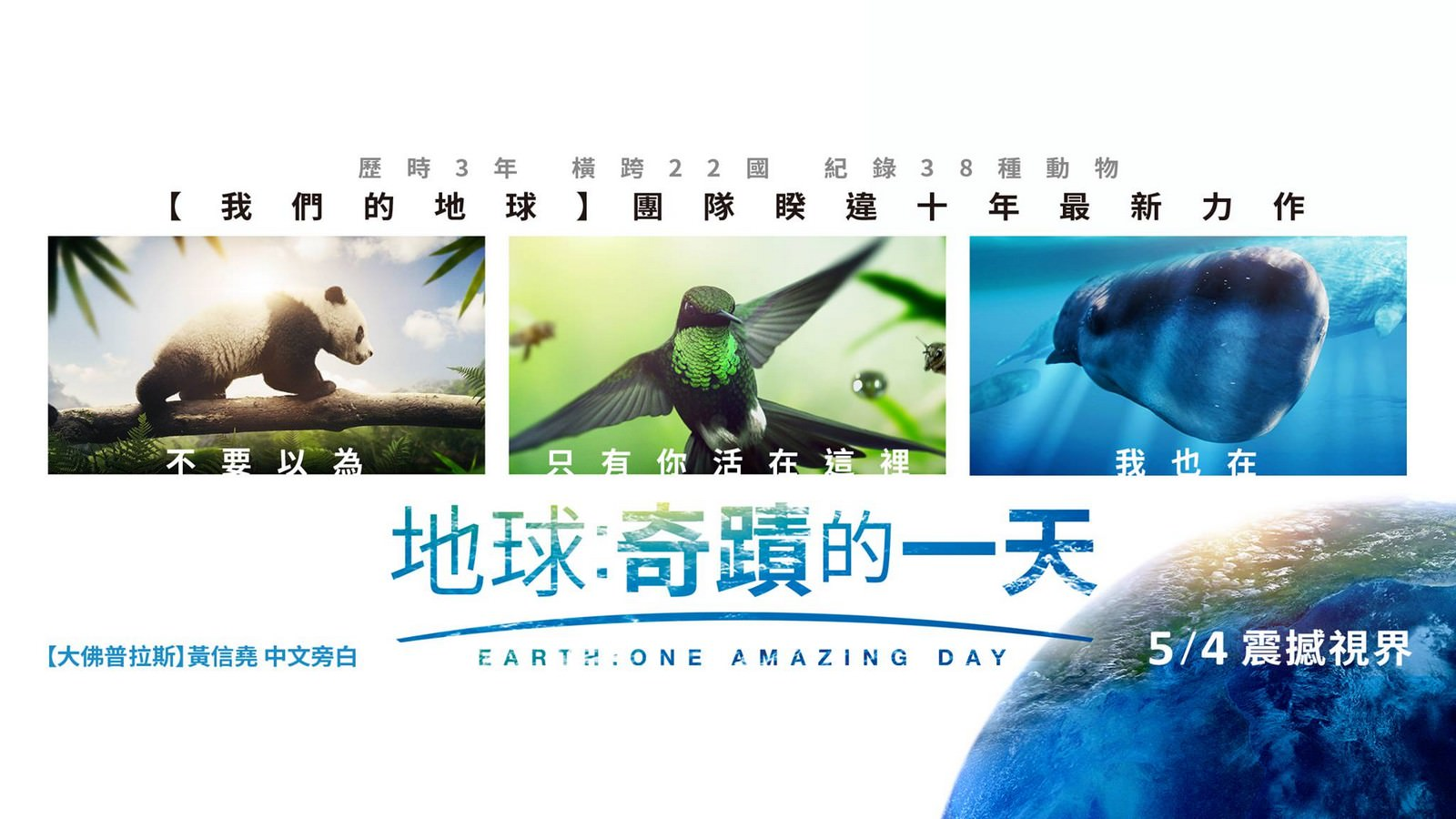 Movie, Earth: One Amazing Day(中國.英國) / 地球:奇蹟的一天(台) / 地球:神奇的一天(中), 電影海報, 台灣, 橫版