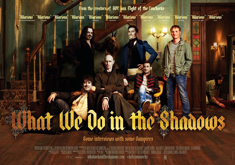 Movie, What We Do In The Shadows(紐西蘭, 2014年) / 吸血鬼家庭屍篇(台灣) / 低俗僵尸玩出征(香港) / 吸血鬼生活(網路), 電影海報, 美國, 橫版
