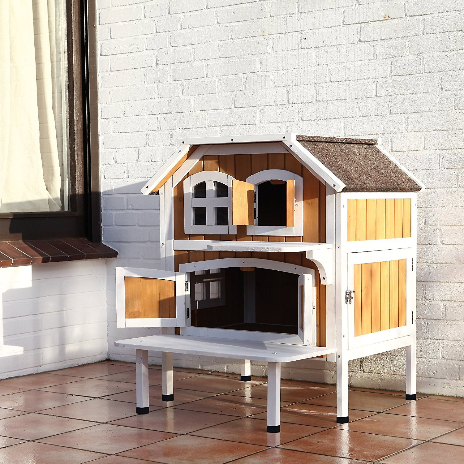trixie 2 story cottage outdoor wooden cat house