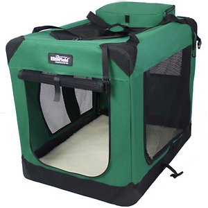 EliteField 3-Door Collapsible Soft-Sided Dog Crate, Green, 42 inch