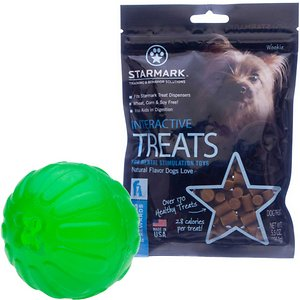 Starmark Treat Dispensing Chew Ball Tough Dog Toy, Large + Starmark Interactive Dog Treats, 5.5-oz bag