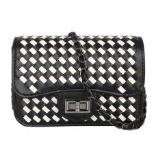 PU Leather Flap Twist-Lock Woven Crossbody Bag
