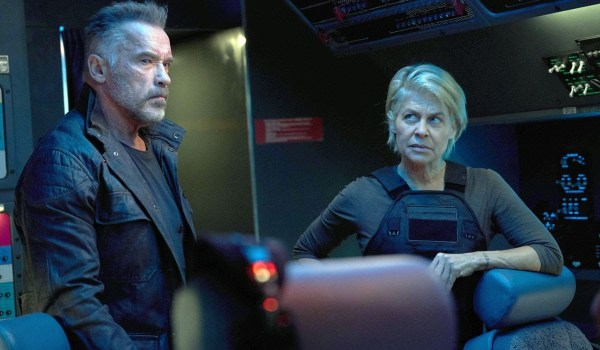 Terminator: Dark Fate Carl and Sarah standing in a cockpit