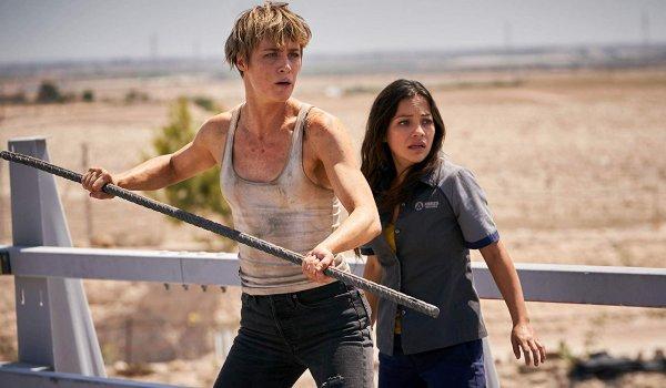 Terminator: Dark Fate Grace protects Dani with a metal rod