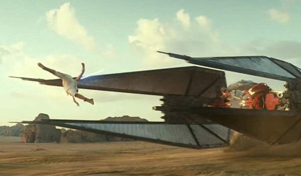 Rey jumping over TIE Fighter in Star Wars: The Rise of Skywalker