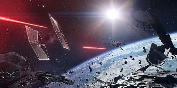 A space battle in Star Wars Battlefront II.