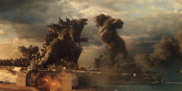 Godzilla vs. Kong fight on aircraft carrier