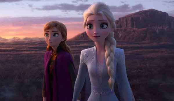 Frozen II Anna and Elsa adventuring in a canyon