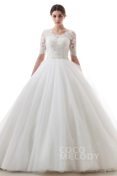 Cocomelody  A Line Scoop Train Tulle Half Sleeve Wedding Dress     Charming A Line Scoop Court Train Tulle Ivory Half Sleeve Wedding Dress  with Appliques B14TB0056