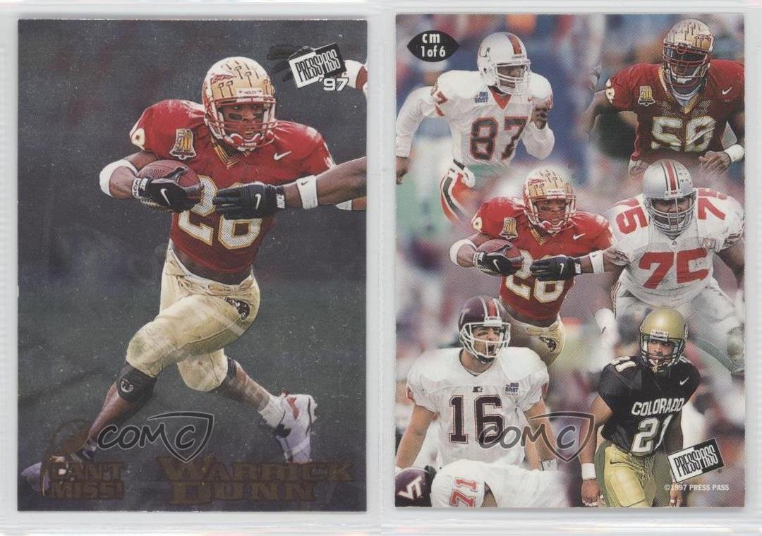 1997 Press Pass Can't Miss! Cm1 Warrick Dunn Florida State