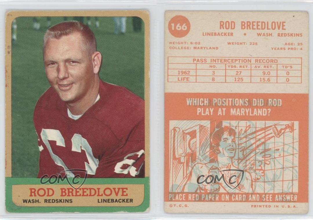 Cards Topps Washington Redskins 1963