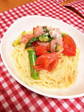 トマトとアスパラと生ハムの冷製パスタ