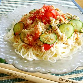 くずし豆腐とツナのぶっかけ素麺
