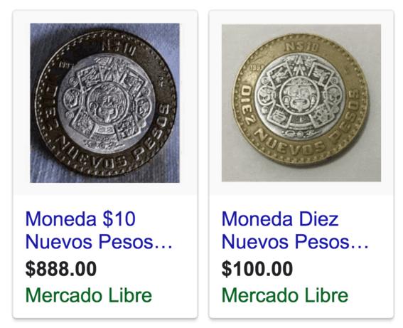 monedas de 10 pesos con mas valor las que tienen plata 5