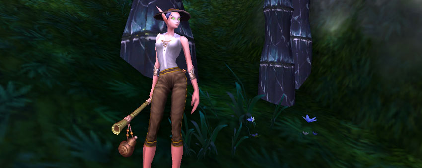 Female Blood Elf holding the Staff of the Hidden Master