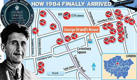 Kamery w otoczeniu domu Orwella