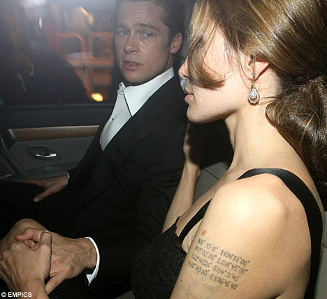 The tattoo on Angelina Jolie's left arm show's