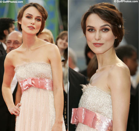 Keira Knightly in pink dress split