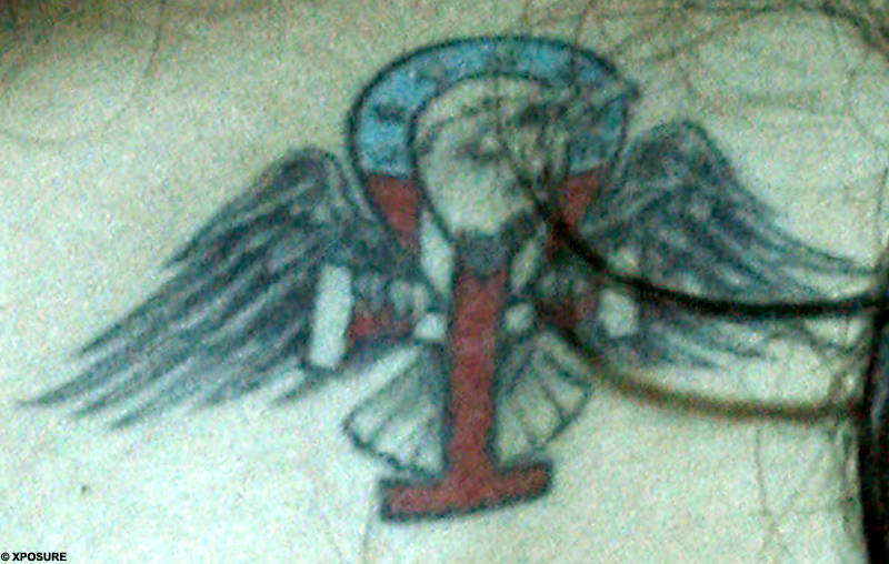 Body art: Winehouse's new tattoo shows an American eagle behind an ankh
