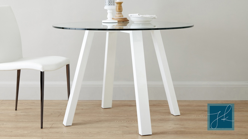 Round 4 Seater Glass And White Gloss Dining Table UK