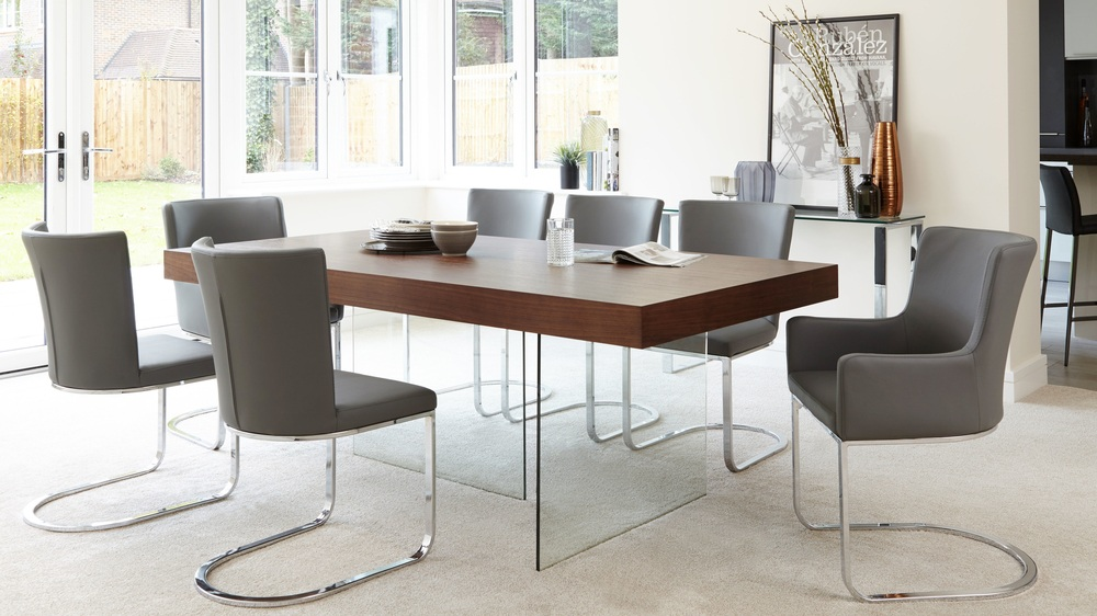 Dark Wood And Glass 6 - 8 Seater Dining Set