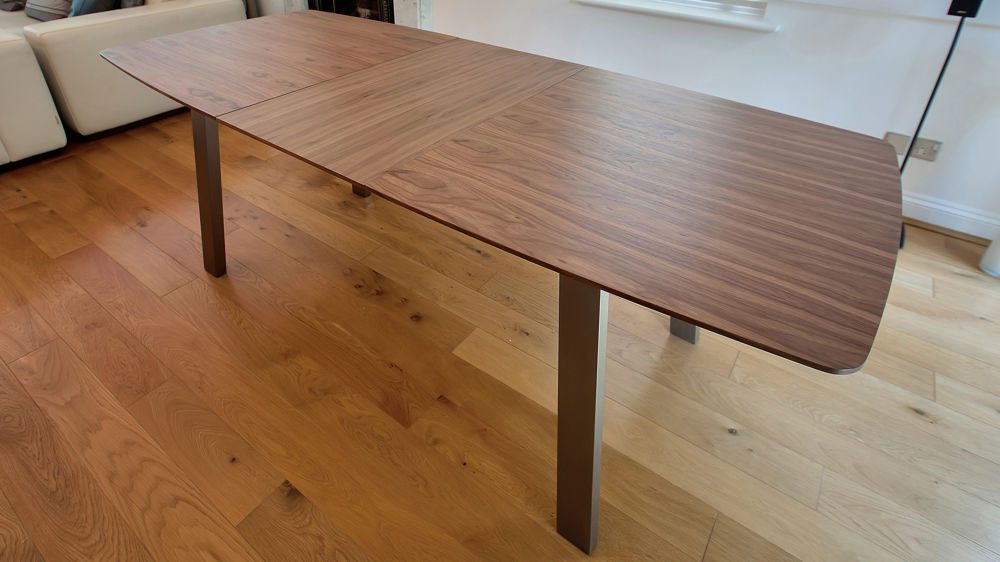 Extending Trendy Walnut Dining Table And Chairs