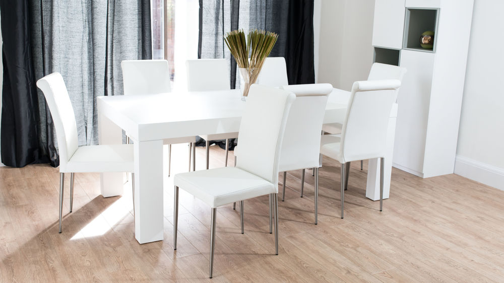 Modern Chunky White Oak Dining Table And Real Leather