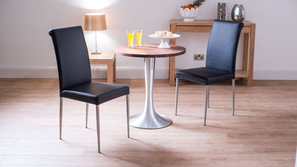 Walnut Two Seater Round Dining Set