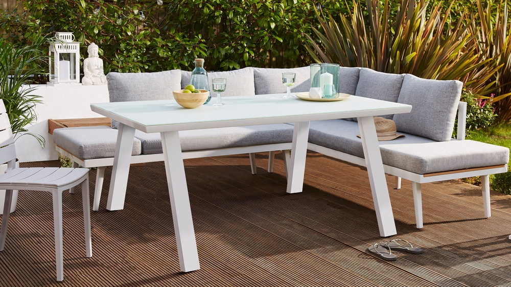 Fresco White 6 Seater Trestle Garden Table